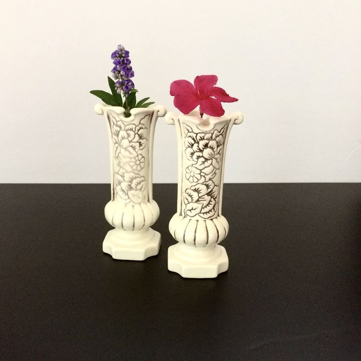 #RedWing #Pottery #bud #vases or #candleholders, versatile use stems, #antique Magnolia pattern 1189, USA made, #retro #craftsman, #masculine flair by #TrulyMeVintage on #Etsy