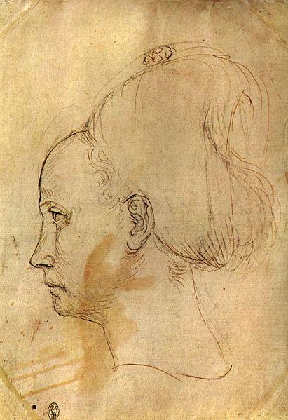 Pisanello - Studio della testa della principessa - 1433-1438 circa o 1450 circa - Parigi, Louvre, Cabinet des Dessins