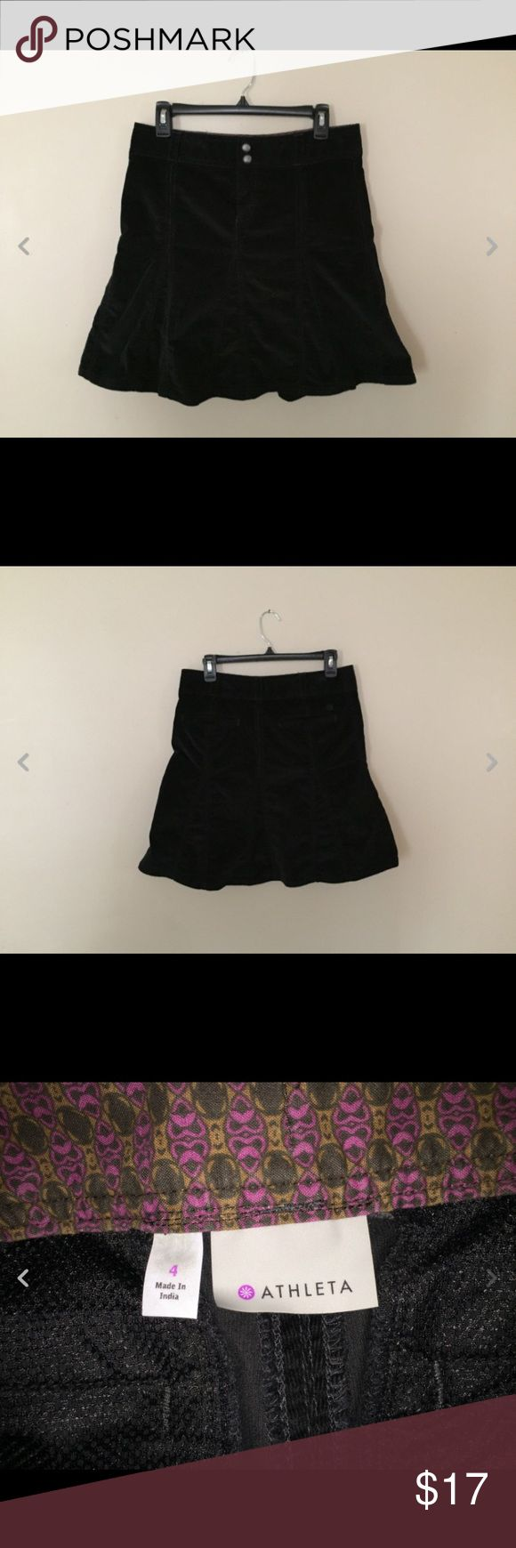 Athleta Black Velour Skirt sz 4 Very good condition. Measures about 30 inch waist x 19 inches in length Athleta Skirts Mini