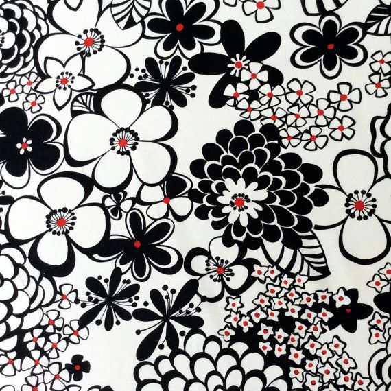 Fabric Satchi Black White Red Floral Alexander Henry By The Yard