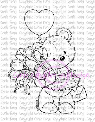 Digital Stamp, Digi Stamp, digistamp, Bella Sending You Smiles by Conie Fong, Coloring Page, Teddy Bear, Valentines, Mother's Day,…