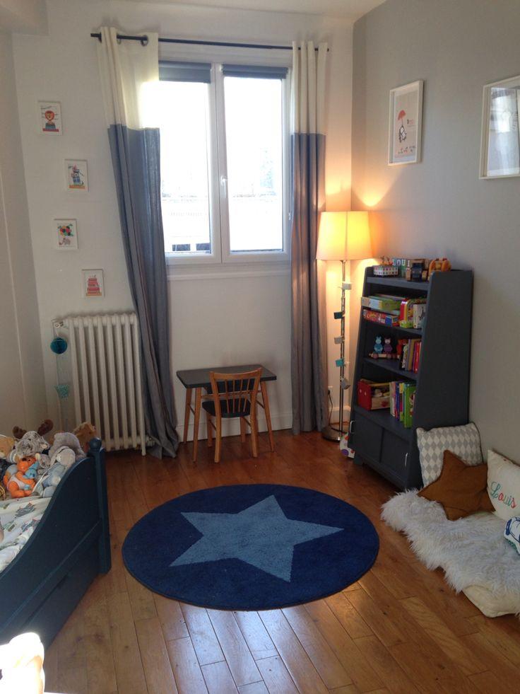 Chambre petit gar on biblioth que et bureau vintage lit ampm peint hague blue f b drap ferm - Bureau petit garcon ...