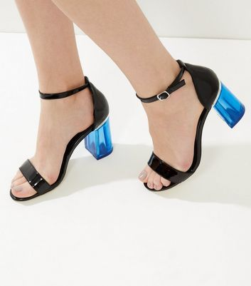 New Look Sale £9 Black Patent Contrast Perspex Flared Heeled Sandals