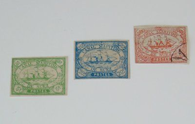 Stamp Pickers Suez Canal 1868 Egypt Classic Imperf Ships x 3 MH VFU