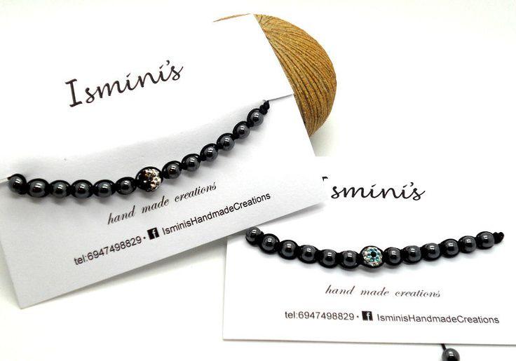 Shamballa bracelet with hematite and swarovski beads by IsminisJewelryStore on Etsy