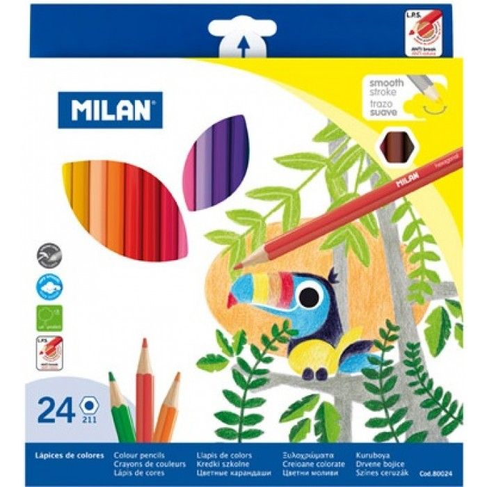 Creioane colorate 24 buc/set, Milan - Creioane colorate - Articole pentru scoala - Rechizite