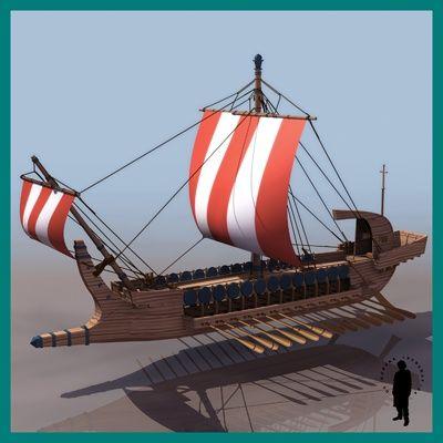 Ancient Greek Warship 500-322 BC Boats  3D Models.