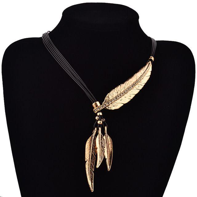 Mode bohème chaîne de corde noire de Style motif de plume pendentif collier pour…