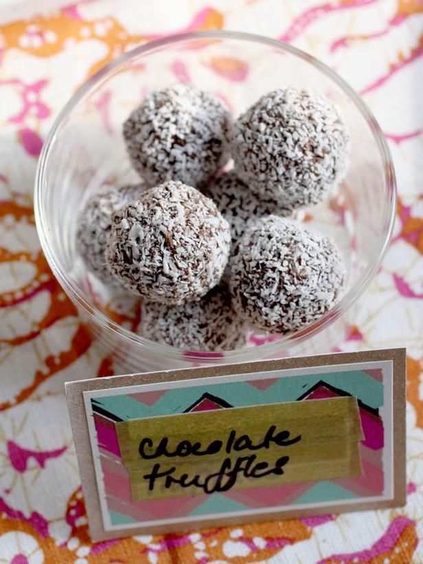 Homemade Chocolate Truffles w/ Champagne and Coconut --> http://www.hgtv.com/entertaining/dark-chocolate-truffles-with-champagne-and-coconut-flakes-recipe/index.html?soc=pinterest