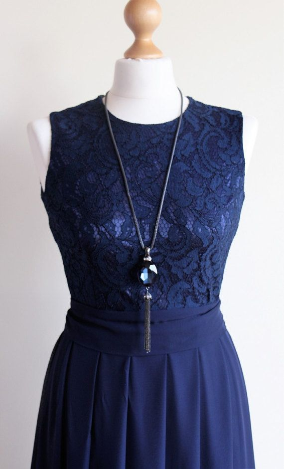 Long navy blue bridesmaid dress with sleeves Navy by MelaniaStyle