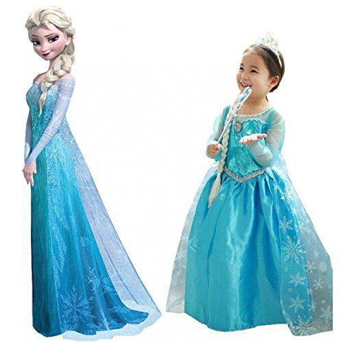 Frozen vestiti principessa Elsa abito carnevale bimba con corona e bacchetta. Taglia 140. Età 7-8 anni. MWS: Amazon.it: Giochi e giocattoli