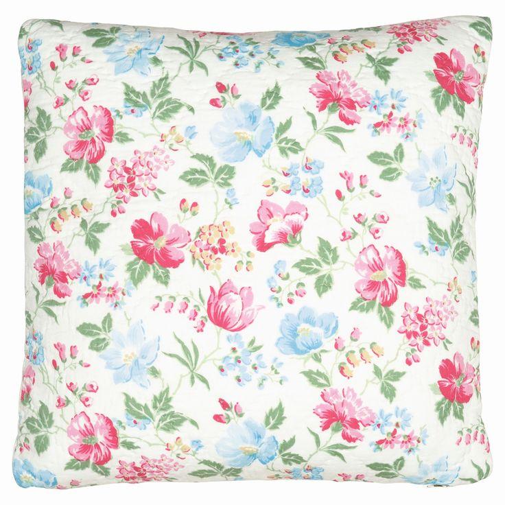 Bavlněný prošívaný povlak na polštář v květinovém vzoru Donna white, rozměr 50x50 cm. Dánská značky Green Gate, na eshopu Bella Rose.