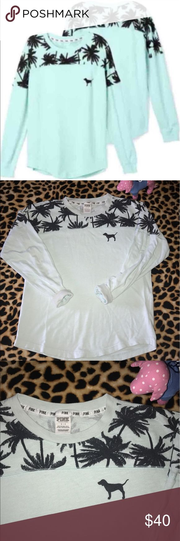 Victoria's Secret PINK Tropical Crew GUC S Good Used Condition *Doggie NOT Included!* Size SMALL Fits True To Size with a little room like the VS PINK crews usually do. The only flaw is some pilling from wash/wear. This is a lightweight crew made of French terry. It's perfect to wear on cool summer days or at night when it gets cooler. Or you can throw it on after a swim, with  🌴 palm tree accents on the shoulders it's perfect! Date tag says 12/14 so this would have been from PINK's Spring…