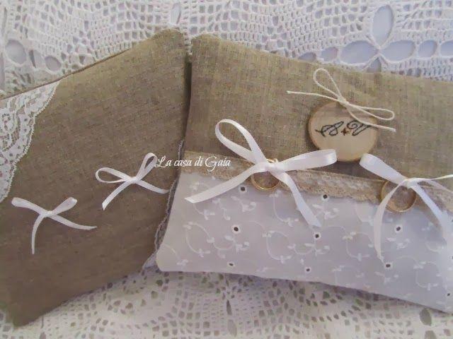Bomboniere e cuscini porta fedi natural style