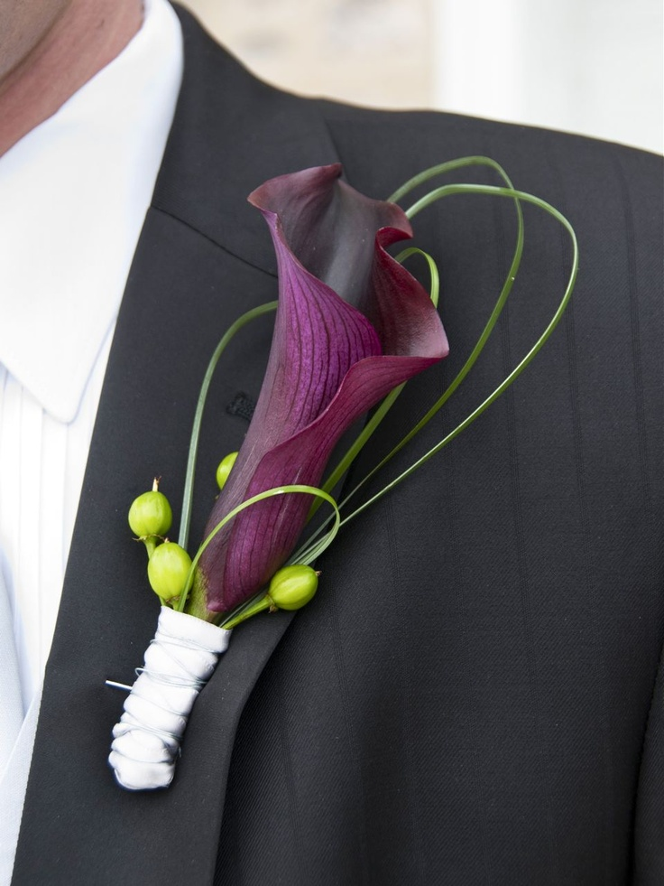 Boutonniere (Purple Calla Lily), love all but the green balls, and white wrap looks out of place.