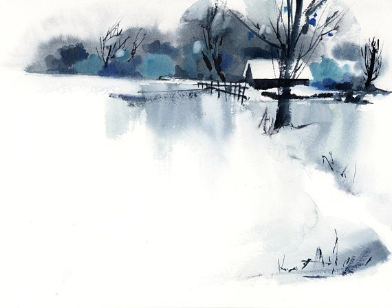 Winter Abstract Landscape Fine Art Print Minimalist Snowy Nature