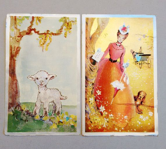 Two art post cardSerial NumberPRINTED IN by DorisVintage on Etsy