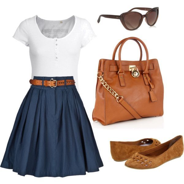 Navy blue classic skirt, nice white tee, and brown flats. Could wear to work when I need to be a little dressier.