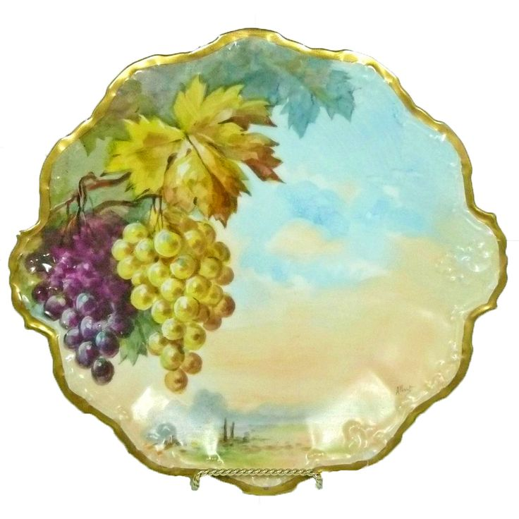 Limoges Coiffe Flambeau Cabinet Plate Hand Painted Artist Signed Grapes  sc 1 st  Pinterest & 22 best Limoges images on Pinterest | Decorative plates Porcelain ...