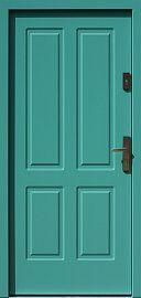 Klasyczne drewniane drzwi zewnętrzne model 534,6 w kolorze turkusowe