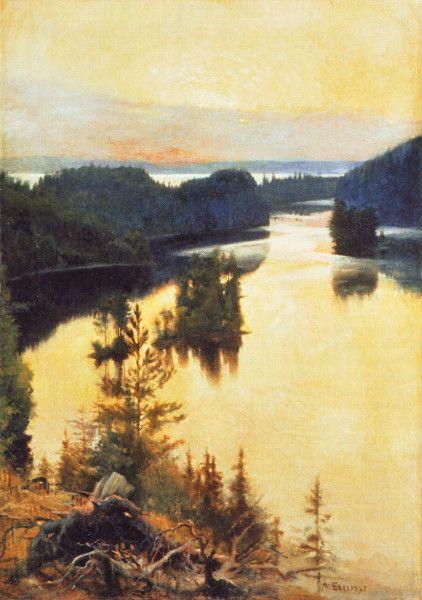 """""""Kaukola Ridge at Sunset"""" (1889-1890) by Albert Edelfelt"""