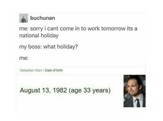 National holiday Happy (almost) birthday Sebastian Stan