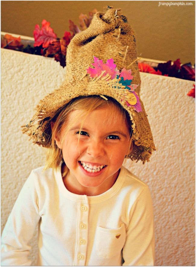 No-Sew Burlap Scarecrow Hat by Frumpy Bumpkin.  Great tips for how to collaborate with your kid on this project!  {No}Sew cute!