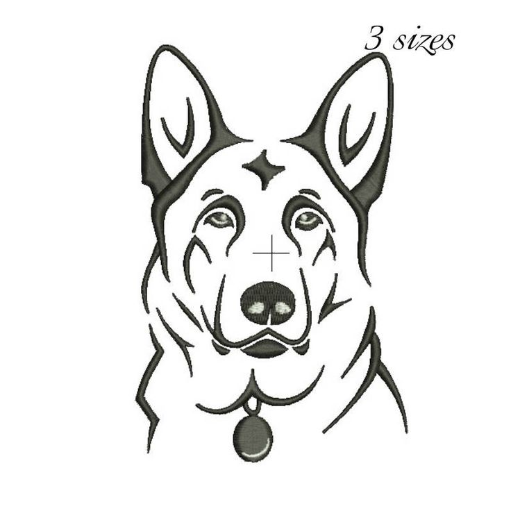 German shepherd embroidery machine design animal digital instant download pattern hoop file t-shirt fill stitch dog puppy designs by SvgEmbroideryDesign on Etsy