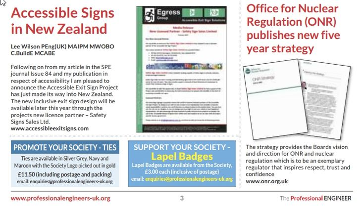 The Accessible Exit Sign Project has been featured on page 3 of Issue 85 of The Professional Engineer journal, published by the Society of Professional Engineers. A full copy of the article can be ...