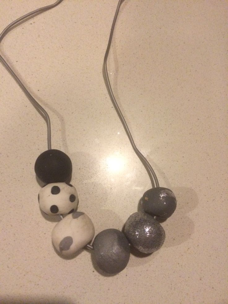 Spots and glitter! Hand made clay beaded necklace