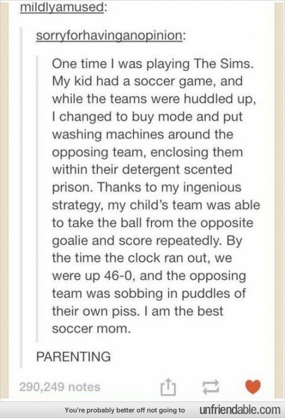 The Sims parenting.