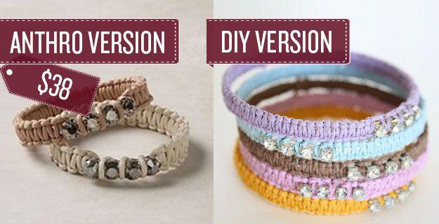 Craft some woven rope bracelets. | 38 Anthropologie Hacks
