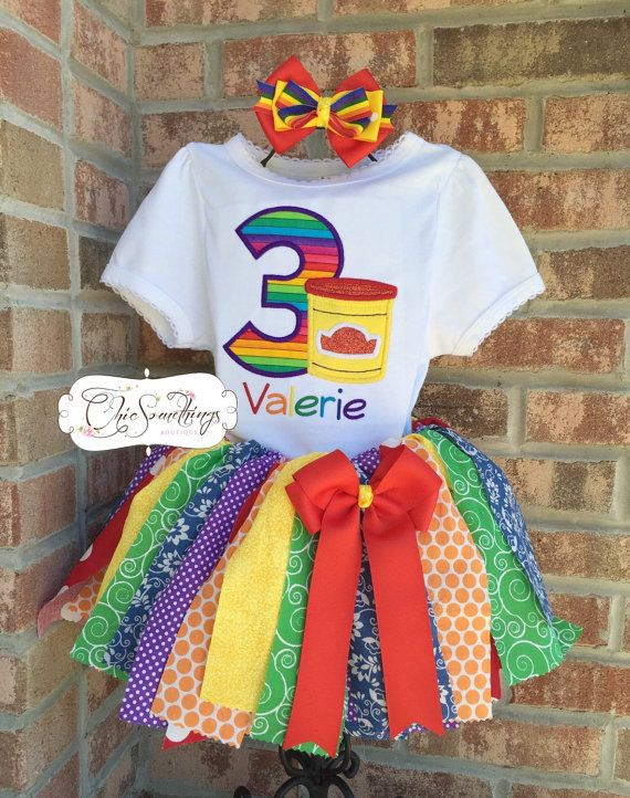 Fun-Doh Birthday Outfit  COLOR SCHEME: Rainbow  PRODUCT DETAILS: Fabric tutus do not have finished edges and will have an amount of natural fray. Tutu sizes only up to 4/5T. You will receive the color scheme and design similar to photo 1 unless requested otherwise. HOW DO I ORDER? Please read the Frequently Asked Questions at the bottom of this page for order instructions and important information you need to know before placing your order. Please contact me with any questions that are n...