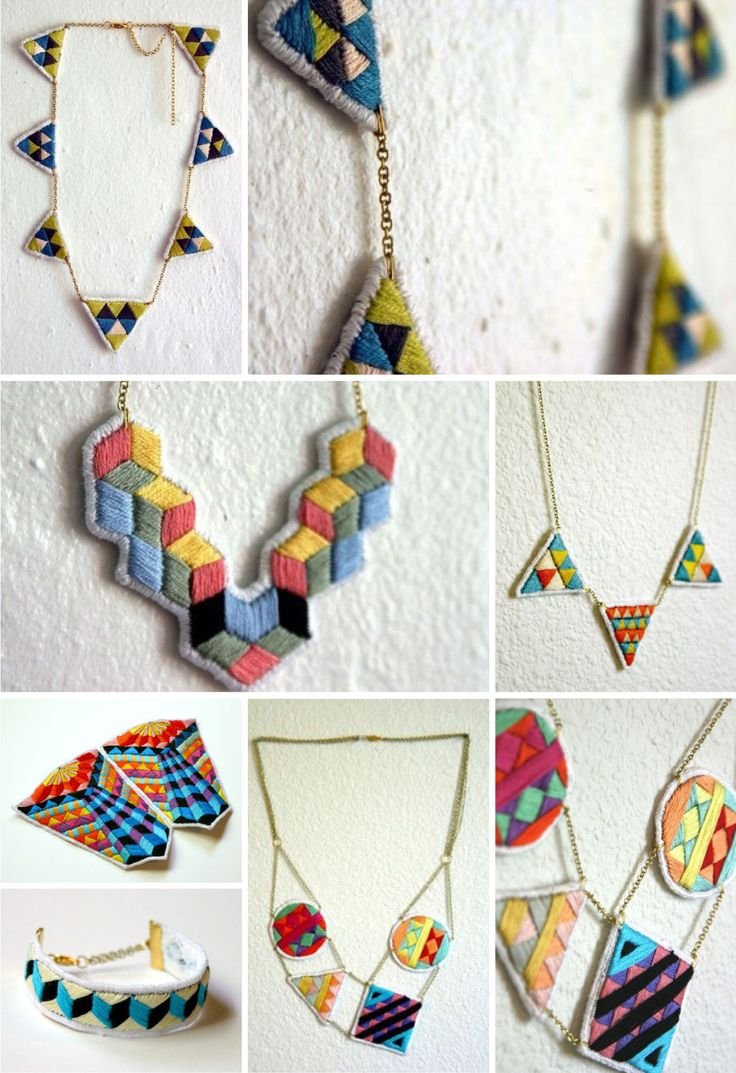 embroidered jewelry! way cooler than leaving your embroidery on a wooden hoop! functional.