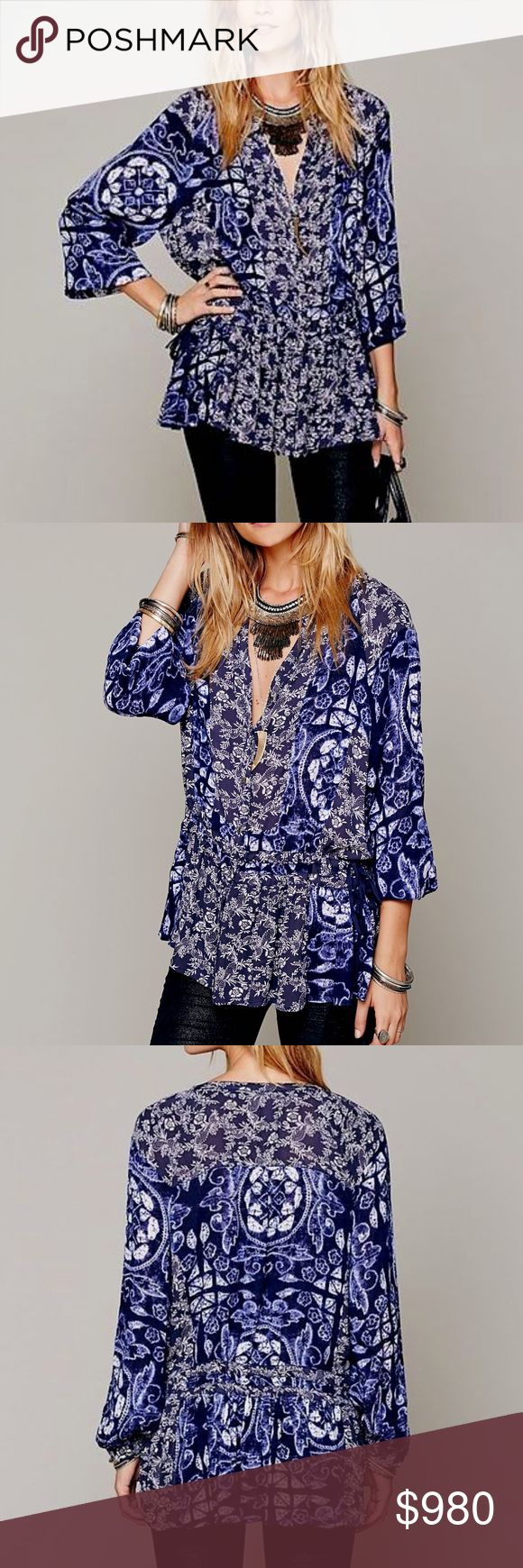 FREE PEOPLE Woven Tunic Intricate Draped Pullover Size XS. Excellent Condition.  • Beautiful boho blouse featuring soft gauzy fabric & dropped shoulders. • Button-down front with v-neckline & ruffled high-low hem. • Floral multicolor patchwork printed design throughout. • Double adjustable drawstring tie closures at sides. • Plum, muted purple, navy & white. • Effortless, unlined & loose-fitting. • Long sleeves & buttoned cuffs. • XS = 0-2.  # Spring  • Same-Business-Day Shipping (10am CT)…