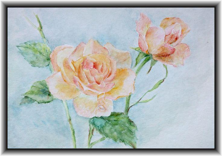 Printable art, watercolor by Tsvetilena Bochukova,digital print,wall decor,instant download, Two rose  , Flower print,Home decor