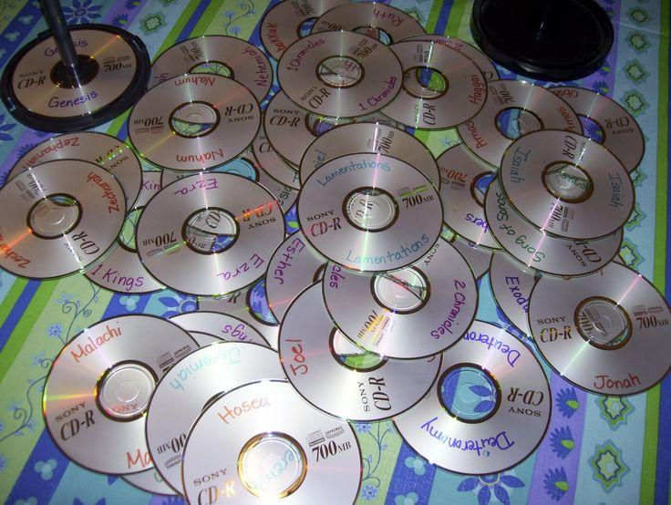 CD Mix Spel. Schrijf de 66 boeken van de bijbel op oude CDs/ DVDs. Mix ze door elkaar. Laat de kinderen ze sorteren op spindles. OT/NT Of per category (Wet, Geschiedenis, Profeten etc). // CD Shuffle Game. Write the books of the bible on used CDs/DVDs. Shuffle. Sort on spindles. OT/NT. Or by categorie (Law, History, Prophets etc).