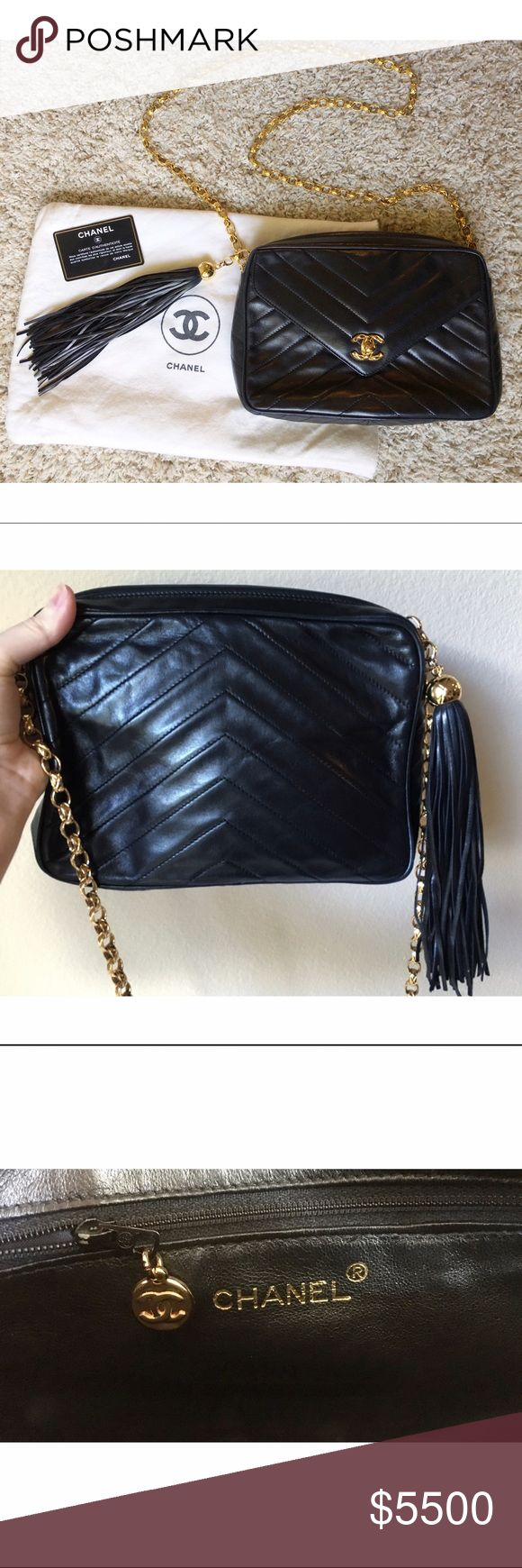 CHANEL Vintage Lambskin Tassel Chevron Purse This 100% authentic rare CHANEL vintage tassel crossbody purse was made in Italy from sturdy, super soft lambskin leather. This small, uniquely structured bag is beautifully crafted with unique chevron detailing and embroidery. Luxurious gold zippers, a removable chain strap, and CHANEL hardware make this purse one of a kind. This purse is timeless, elegant, authentic, and chic. Comes with CHANEL dust bag and authentic CHANEL certification card…