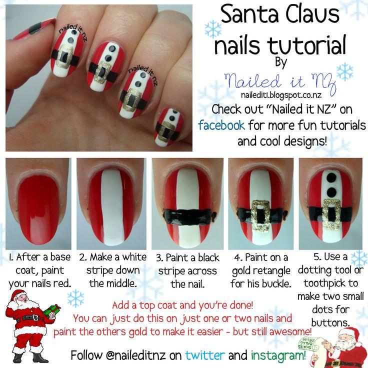 Nailed It NZ: Santa Claus nail art tutorial!  http://nailedit1.blogspot.co.nz/2012/12/santa-claus-nail-art-tutorial.html