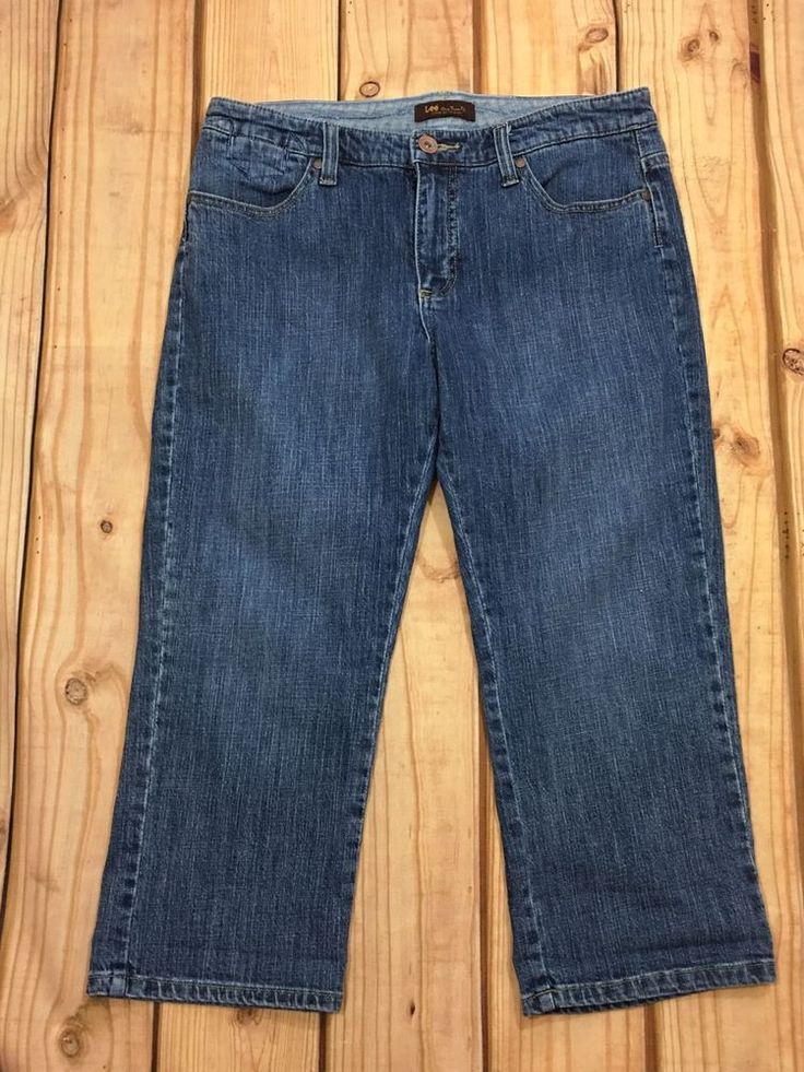 Lee Jeans Women Cropped Capri Denim Lower on Waist Flap Pocket SZ 10P #Lee #CapriCropped