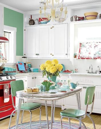 retro kitchen green red yellow and blue: Stove, Dreams Kitchens, Kitchens Design, Vintage Kitchens, Red, Color, Kitchens Ideas, Kitchens Tables, Retro Kitchens