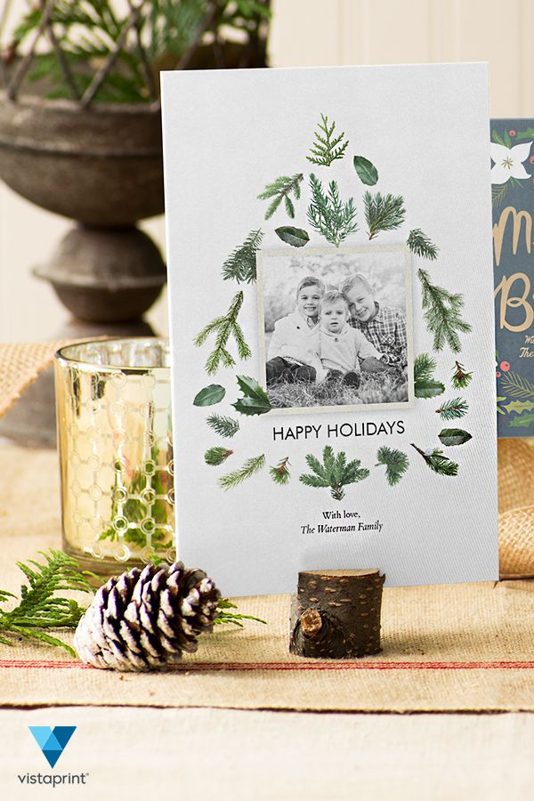 Send out this year's holiday greetings with style with custom cards from Vistaprint. Select one of hundreds of beautiful and unique designs, add your photo and message as well as festive personal touches for a truly custom holiday card.