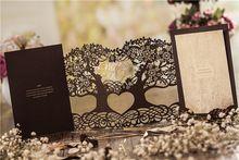 Бесплатно Для Печати Роскошные Вырез Дерево Любви Свадебные Приглашения Карты С Конвертом Лазерной Резки Hollowing Пригласительных билетов(China (Mainland))