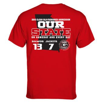 Georgia Bulldogs vs. Georgia Tech Yellow Jackets Red 2015 Our State Rivalry Score T-Shirt