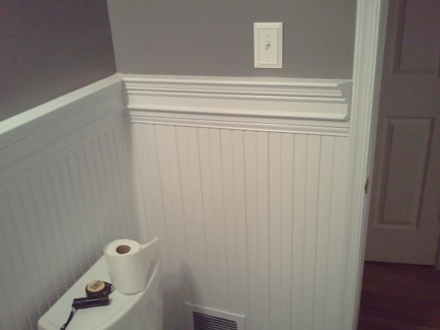 Chair Rail Ideas For Bathroom sherwin williams dovetail below and mindful gray above still to be Bathrooms With Chair Rail Molding Bead Board Chair Rail Bathroom Vanity Bathroom Remodeldecorum Ideas Pinterest Chair Rail Molding