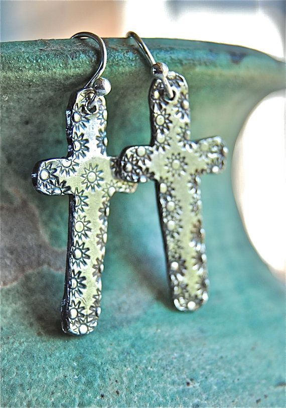 Cross Earrings, cowgirl, western, hippie cowgirl, PMC, Silver, rustic, southwestern