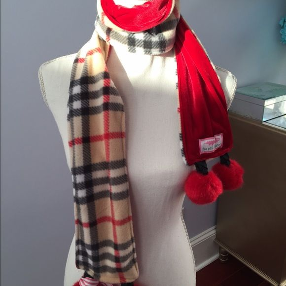 final drop plaid pom pom scarf only until monday gorgeoeous fleece red velvet pom pom scarf. Black Bedroom Furniture Sets. Home Design Ideas