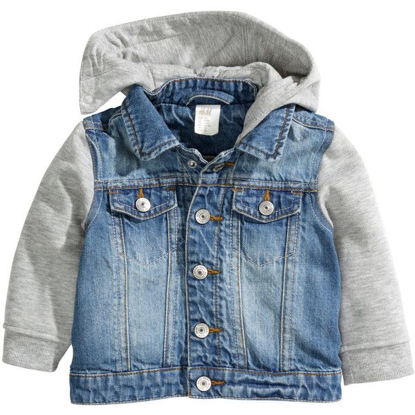 Hooded denim jacket R 349 ($30) ❤ liked on Polyvore featuring outerwear, jackets, baby boy, blue denim jacket, hooded denim jacket, hooded jean jacket, h&m jackets and h&m