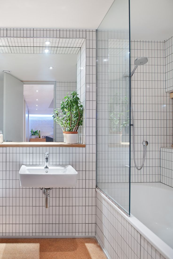 white tiles edged with gray grout, Scandinavian influences