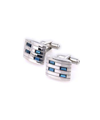 Gemelos rectangulo plata y cristal azul
